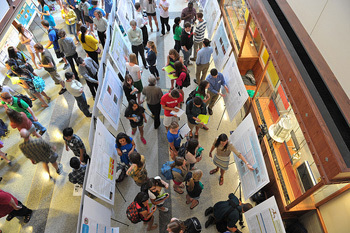 COS JAM poster presentations in the Jordan Hall of Science Galleria