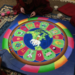 Construction of a sand mandala