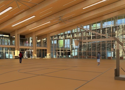 Gymnasium in net-zero community center