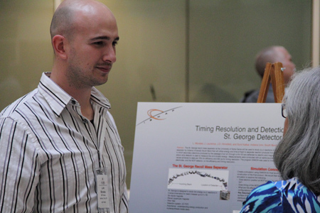 Luis Morales presents his research at the NSF. Photo credit: NSF.