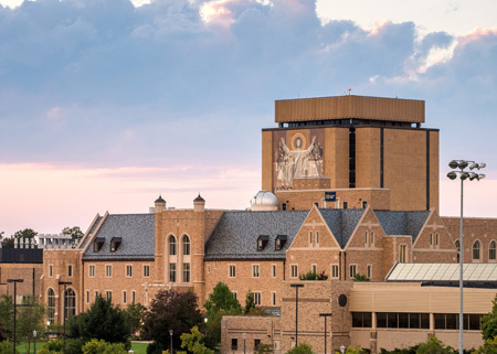 Jordan Hall and Hesburgh Library