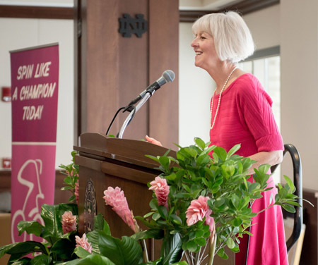 Lynn Flanagan speaks at the annual Pink Zone Brunch