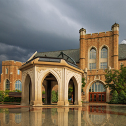 Jordan Hall of Science exterior after a rain storm