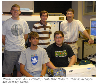 High Energy Particle Students and Professor Mike Hildreth