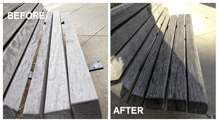 Stepan Hall bench - before and after
